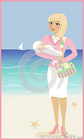 妈妈和婴孩