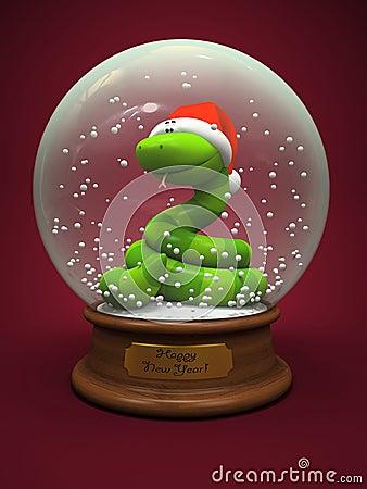 Змейка в глобусе снежка