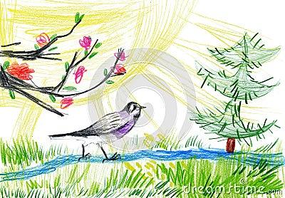 儿童画。 小鸟在森林里