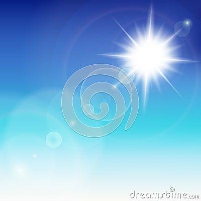 与透镜火光的太阳。