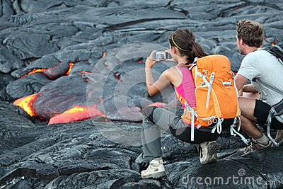 Туристы лавы Гавайи