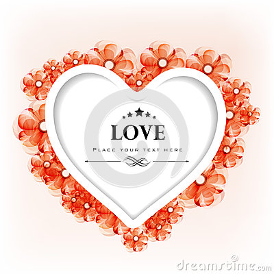 情人节贺卡或与花卉装饰的礼品看板卡