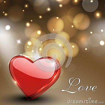 情人节贺卡、礼品与光泽的看板卡或者背景