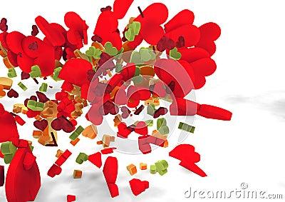 Πετώντας καρδιές χρωμάτων