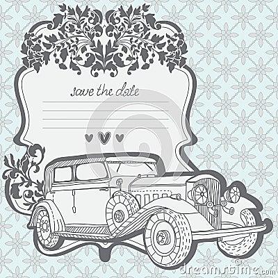 婚礼与减速火箭的汽车的邀请看板卡