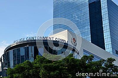 新加坡警察驻扎复杂大厦 编辑类库存图片