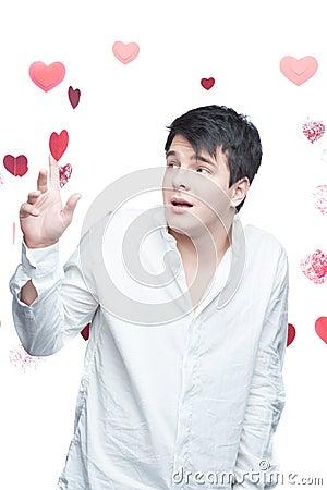 Молодой нежный человек брюнет
