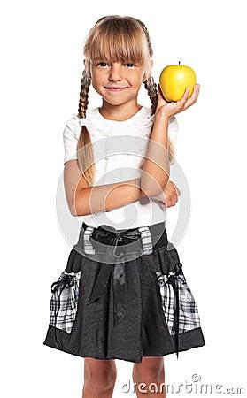 小女孩用苹果