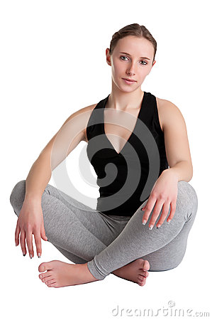妇女坐地板