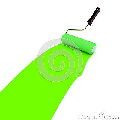 Зеленый ролик краски