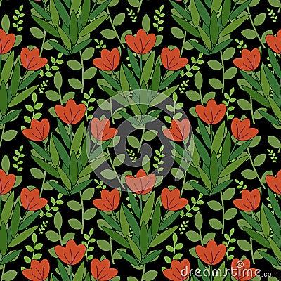 Красная картина цветков