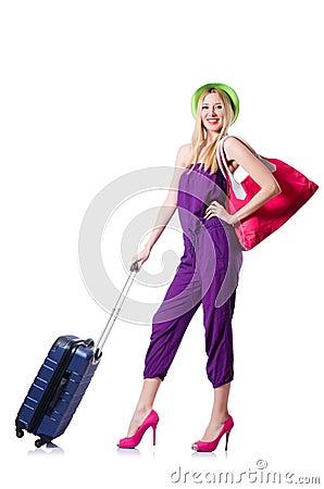 带着手提箱的少妇