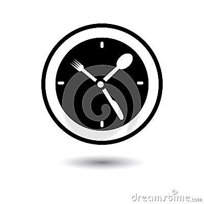 Ώρα του μεσημεριανού, χρόνος τροφίμων, απεικόνιση χρονικής έννοιας γευμάτων