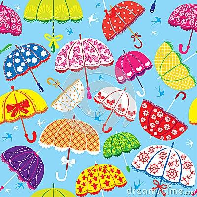 与五颜六色的伞的无缝的样式