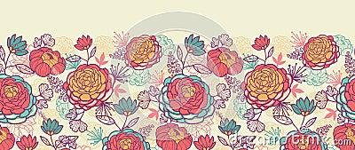 牡丹花和叶子水平无缝