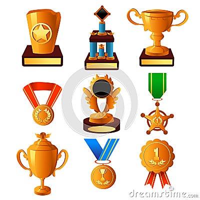 Значки золотой медали и трофея