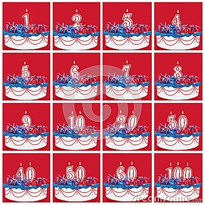 生日数字蜡烛的汇集