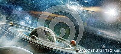 与许多突出的圆环系统的行星