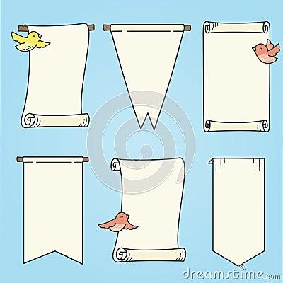 Вертикальные знамена и птицы
