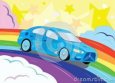 Фантастический автомобиль в небе.