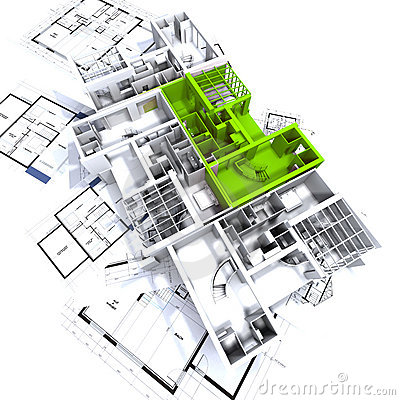 公寓蓝绿色大模型