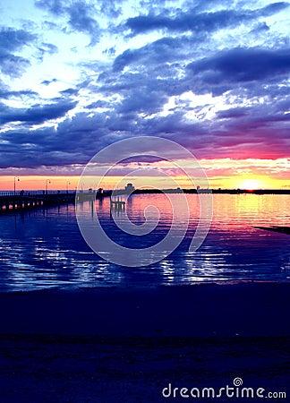 澳洲五颜六色的日落
