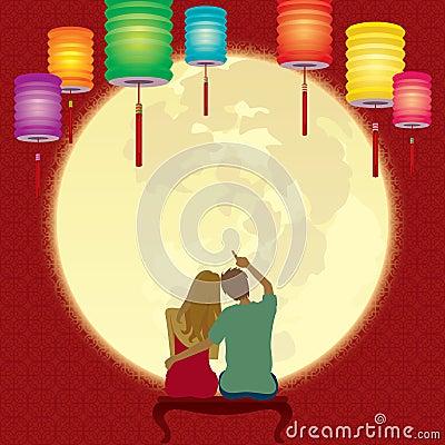 在光彩的满月的夫妇注视