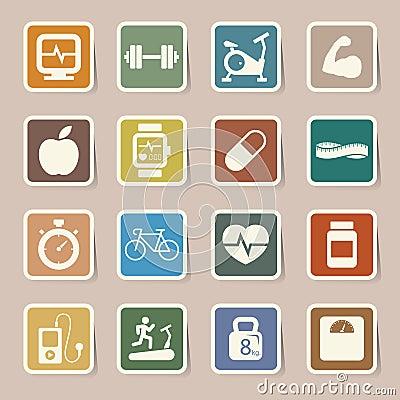 Значки фитнеса и здоровья.