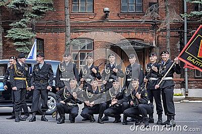 Μια ομάδα των ναυτικών Εκδοτική εικόνα