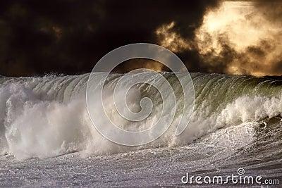 详细的大碰撞的波浪