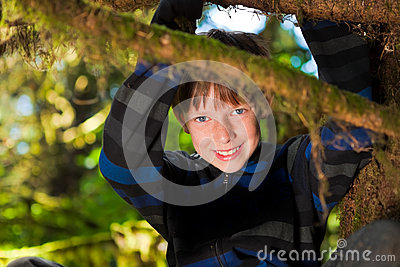 坐在树微笑的年轻男孩