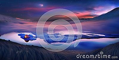 Туристы проводят ноча на льде