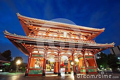 浅草寺庙在东京日本
