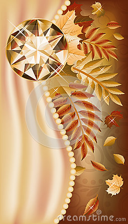 秋天与珍贵的宝石的贺卡