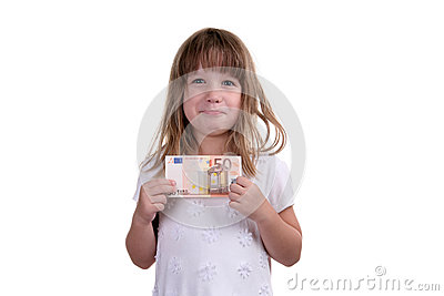 有金钱的女孩在手上