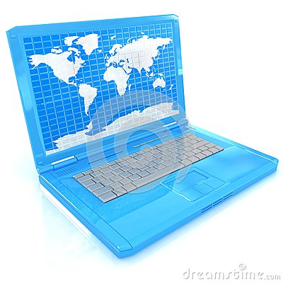 有世界地图的膝上型计算机在屏幕上