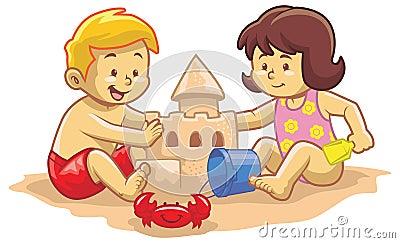 孩子修造沙子城堡