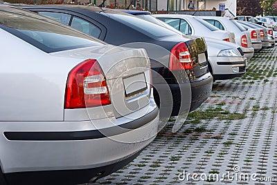 компания автомобилей припарковала