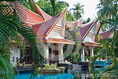 热带度假旅馆游泳池。