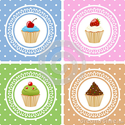 祝生日快乐卡片用杯形蛋糕