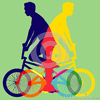 自行车五颜六色的传染媒介