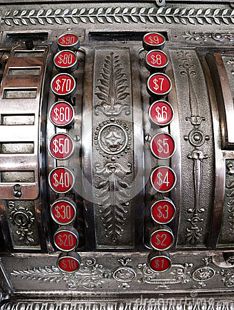 有美元按钮的老收款机