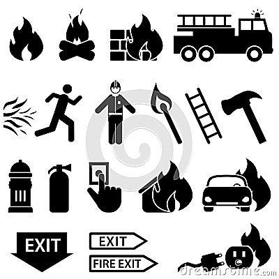 Σχετικό με την πυρκαγιά σύνολο εικονιδίων