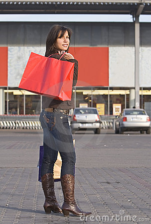 袋子红色购物妇女