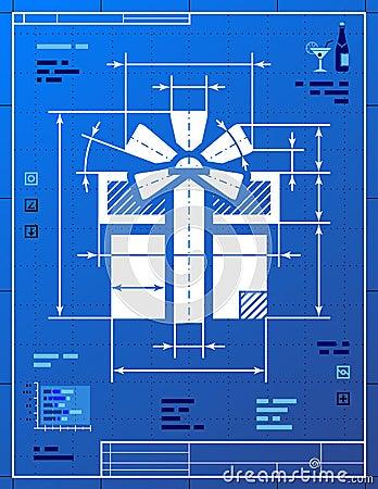 Символ подарка любит светокопия чертежа
