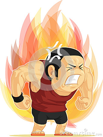 Шарж сердитого человека