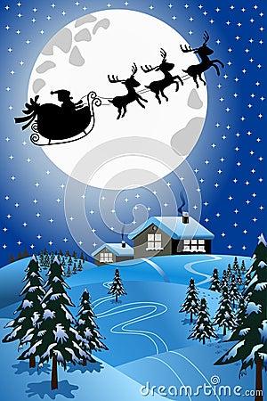 圣诞老人圣诞节雪撬或雪橇飞行在晚上