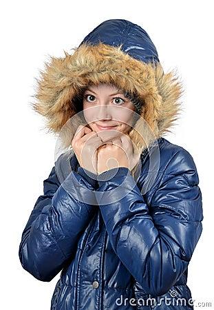 女孩冬天画象