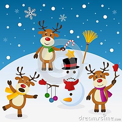 淘气驯鹿和雪人