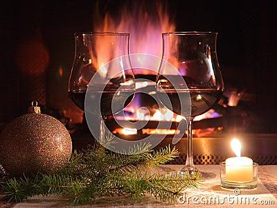 浪漫圣诞节的正餐